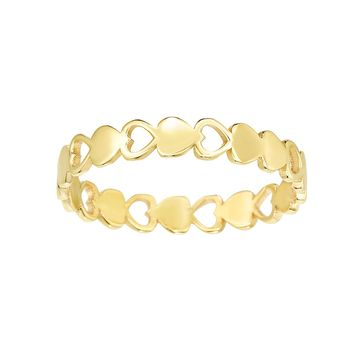 14k Yellow Gold Hearts Womens Band Ring, Size 7