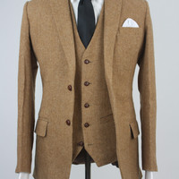 Custom Brown Herringbone Tweed 3 Piece Suit Monkey Suits