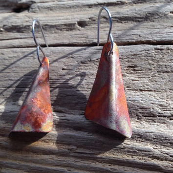 Forged copper flamed earrings, flame painted copper jewelry metal earrings, rustic copper earrings, geometric metal  jewelry