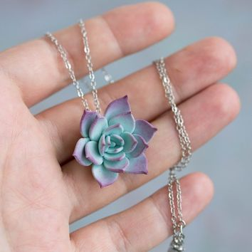 Small Blue Purple Succulent Necklace SN007