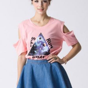 Triangle Print Pink Cut Out T-shirt  S010438