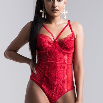 AKIRA Sheer Lace Cross Over Bodysuit in Red, White