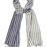 Navy/Ivory Check/Stripe Scarf - Scarves - Austin Reed
