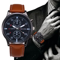 2018 Fashion Casual Mens Watches Luxury Leather Business Quartz-Watch Men Military Sport Wristwatch Relogio Masculino