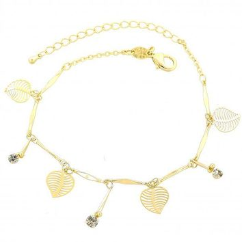 Gold Layered 03.63.1272.07 Charm Bracelet, Leaf Design, with White Cubic Zirconia, Polished Finish, Gold Tone