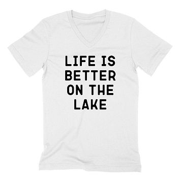 Life is better on the lake, vacation, funny workout, summer, gift for her, for him V Neck T Shirt