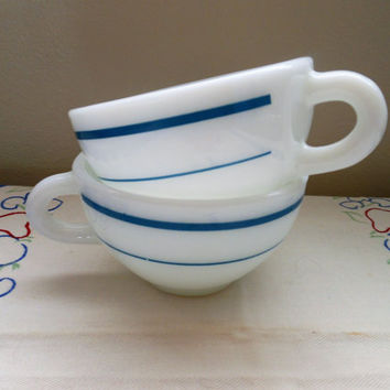 Anchor Hocking 917 Vintage Diner Cups Anchor Hocking Blue Stripe Cups, Anchor Hocking Turquoise Band Milk Glass C Handle Mugs Pyrex Mugs
