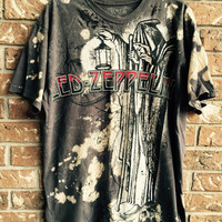 Led Zeppelin cut and distressed T shirt, bleached shirt size XL