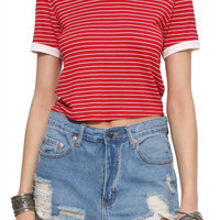 Red Striped Cropped Top