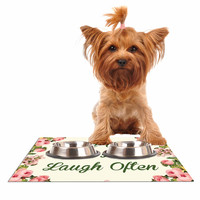 "NL Designs ""Live, Love, Laugh"" Floral Typography Dog Place Mat"
