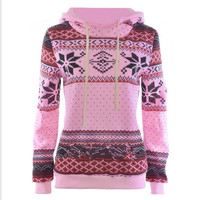 Loose printed long - sleeved thick hooded sweater Pink