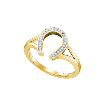 10kt Yellow Gold Womens Round Diamond Horseshoe Lucky Ring 1/12 Cttw 55957