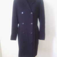 Ann Taylor size 6 black double-breasted fully lined long sleeved vintage 70's dress in black