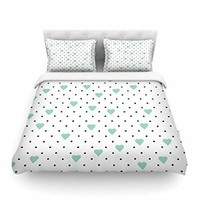 """Kess InHouse Project M """"Pin Point Polka Dot Mint"""" Green White Cotton Queen Duvet Cover, 88 x 88"""""""