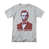 Abraham Abe Lincoln I Hate Theatre Heather Grey T-Shirt