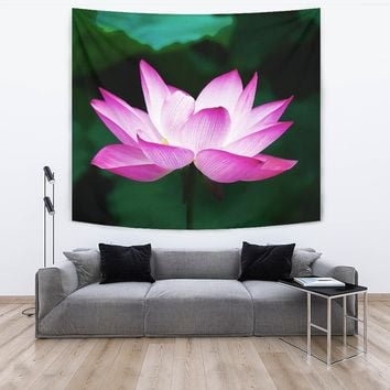Watercolor Lotus Tapestry