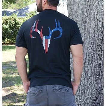 Distressed American Flag Deer Skull Black Short Sleeve Tee