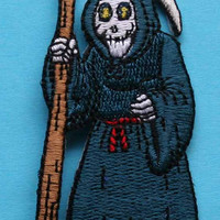 ID 0886 Grim Reaper Halloween Trick Treat Embroidered Iron On Applique Patch