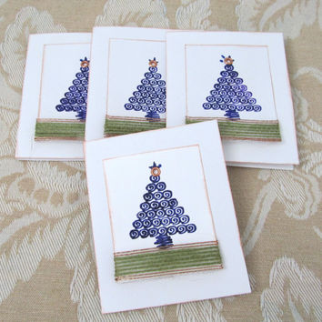 Christmas Note Cards - Set of 4 Note Cards - Small Gift Cards - Christmas Theme - Purple - Blank Card - Hand Stamped - Christmas Tree