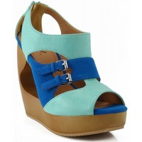 Qupid Lisbeth-09 Open Peep Toe Cut Out Strappy Platform Wedges Sandals MINT