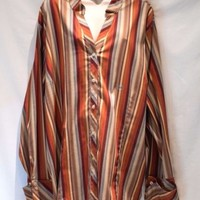 Lane Bryant Blouse French Cuff Cotton Blend Size 26 28 Rust Brown Stripes