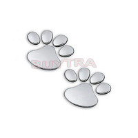 2 Pcs Paw Pet Footprints Emblem Car Truck Decor 3D Sticker Decal