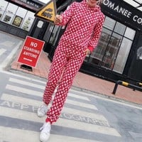 """Louis Vutitton"" Women Casual Fashion Letter Logo Print Long Sleeve Hooded Sweater Trousers Set Two-Piece Sportswear"