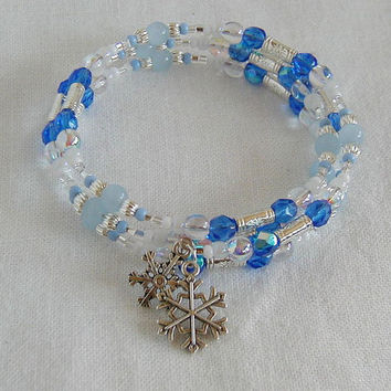 Blue,Silver and White Snowflake Charm Bangle Bracelet   ~Memory Wire Bracelet~Holiday Bracelet~Winter Bracelet~Beaded Bangle Bracelet