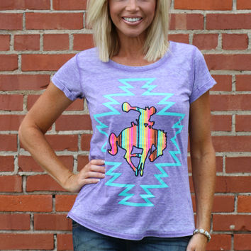 Buckin Broncs Burnout Tee With Cuffed Sleeves ~ Purple ~ Sizes 4-10