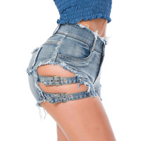 Buy MATITA Buckled Ripped Denim Hot Pants | YesStyle