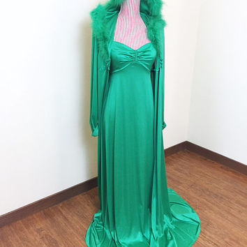 Vintage 1970s Dress / Green / Matching Cloak with Hood / Maxi Dress / Fur trim / Floor Length / Winter Bombshell