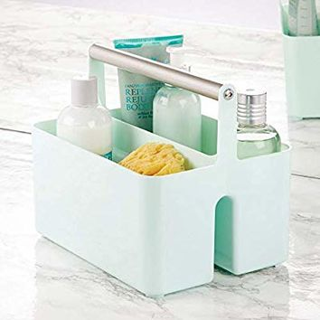 mDesign Plastic Portable Storage Organizer Utility Caddy Tote, Divided Basket Bin - Metal Handle for Bathroom, Dorm, Holds Hand Soap, Body Wash, Shampoo, Conditioner, Lotion - Mint/Satin