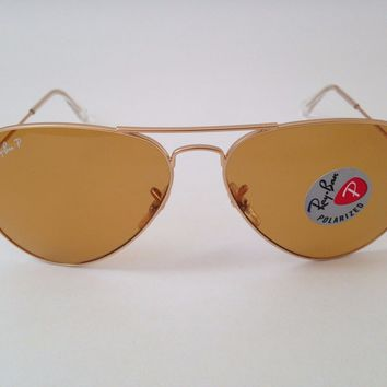 Ray-Ban Sunnie Aviator RB3025 112/O6 Polarized Classic Orange 58mm Lens Gold Frm
