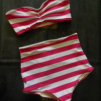 Pink and White Stripe Retro High waisted Bandeau Bikini Made to order