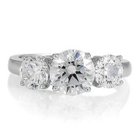 BERRICLE Sterling Silver 3.72 ct.tw Round Cubic Zirconia CZ 3 Stone Engagement Wedding Ring