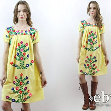 Yellow Mexican Dress Embroidered Dress Festival Dress Hippie Dress Hippy Dress Boho Dress Bohemian Dress Summer Dress 70s Dress 1970s Dress
