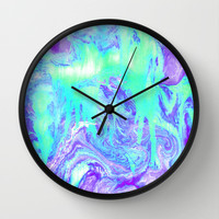 Melting Marble in Mint & Purple Wall Clock by Tangerine-Tane | Society6