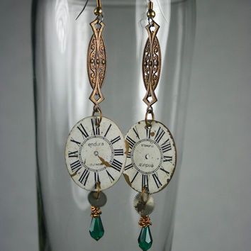 SALE  - 50% Steampunk Watch Face Earrings with Swarovski Crystal Drops