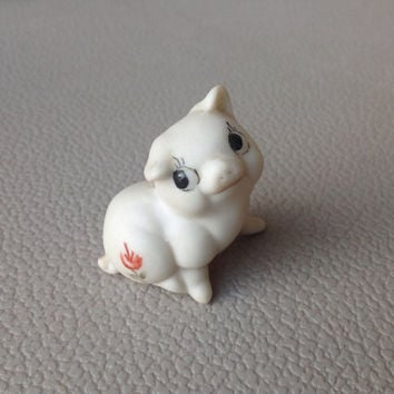 Miniature Porcelain Pig with Handpainted Floral Pattern Vintage Collectable