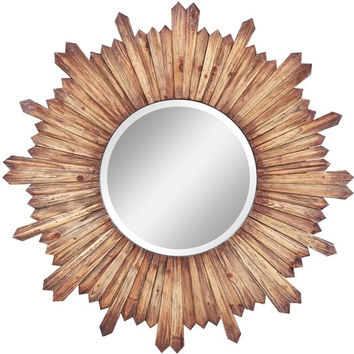 Catherine Mirror Natural Rustic Wood Finish; Beveled Mirror