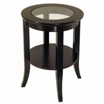Transitional End Table Clear Glass Tabletop Home Furniture Dark Espresso Finish