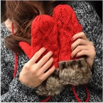 Lady Women Ragwool Winter thicking Mittens Knitted Warm Fur Halter Wrist Gloves #lsstore1866# (Color: White) = 1931457860