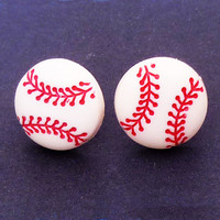 Baseball Stud Earrings White Red Stitching Softball Jewelry Sports Fan Cute Little Post Free Shipping