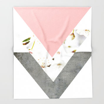 Blossoms Arrows Collage Throw Blanket by ARTbyJWP