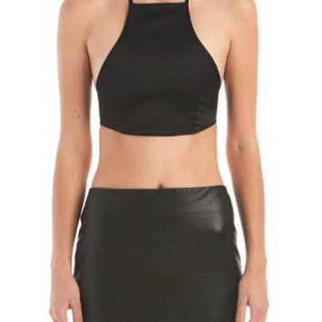 Sia Satin Cross Back Crop Top