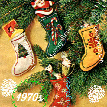"PDF PATTERN • 4 Tiny Xmas Stockings SEWING Pattern • Embroidery Pattern 3 1/2"" by 5"" • Christmas Tree Oranaments • 1970s Vintage Christmas"
