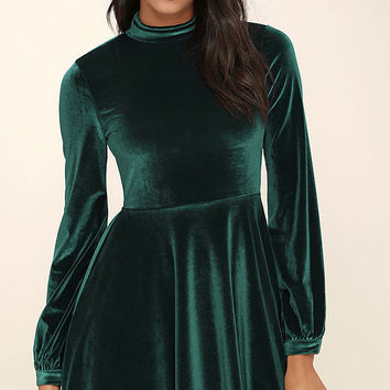 Embrace the Present Forest Green Velvet Skater Dress