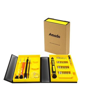 Precision Screwdriver Set Amado 38 Piece Repair Tool Kit for Mobile Computer Accessories and Electronic Devices Screwdriver Bits Hand Tool with Compact Box for Home or Commercial Use Black and Yellow