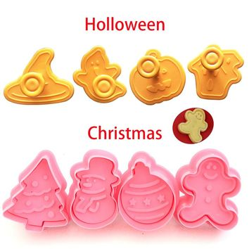 New 4pcs Cookie Stamp Biscuit Mold 3D Cookie Plunger Cutter DIY Baking Mould Halloween Christmas Cookie Cutters Moulds