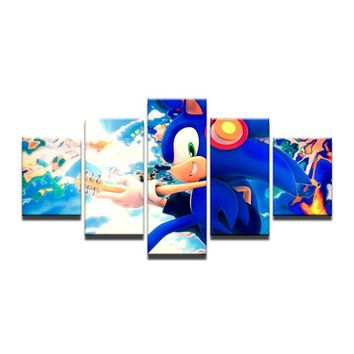Wall Art Canvas Fabric Poster Print Frame Game Sonic The Hedgehog Music Guitar Room Decor Home Decoration